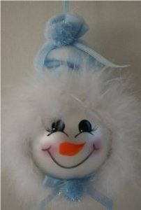 Baby Boy Snowman Ornament with Light Blue Fleece Hat and Mirbeau Feathers around his face