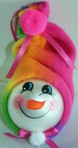 Snowman Ornament with Multi Colored Fleece Hat